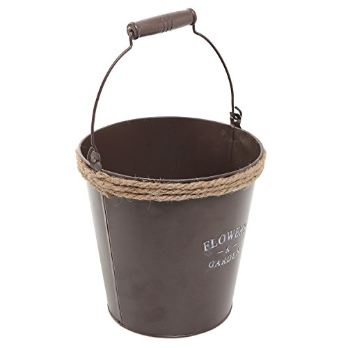 MyGift Country Rustic Brown Metal Water Pail Design Herb Garden Flower Planter Pot/Decorative Plant Container