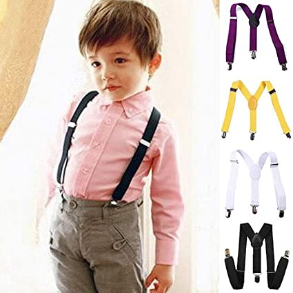 Brussels08 Unisex Baby Kids Fashion Adjustable Clip-on Y-Back Elastic Suspenders Strong Clips Braces for Toddler Kids Boys Girls Yellow
