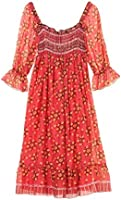 Anna Sui Womens Pom Pom Wreath Border Print Smocked Dress