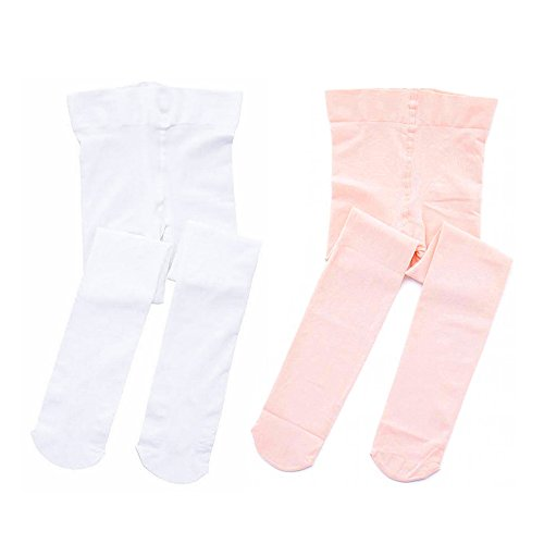 STELLE Girls' Ultra Soft Pro Dance Tight/Ballet Footed Tight (Toddler/Little Kid/Big Kid)(S, Ballet Pink+White)
