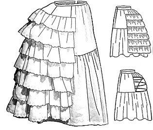 1880 Costume Patterns - 1870's - 1880's Petticoat with Wire Bustle Pattern