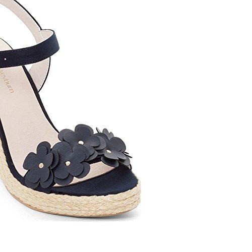 Anne Weyburn Vrouw Leren Sandalen Met Sleehak, Bloemen Detail Gre 40 Blauw