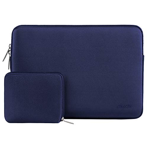 MOSISO Water Repellent Lycra Sleeve Bag Cover Compatible 13-13.3 Inch Laptop with Small Case Compatible MacBook Charger, Navy Blue