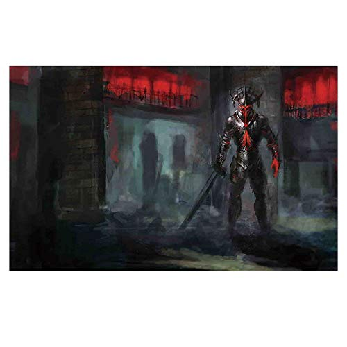 3D Floor/Wall Sticker Removable,Fantasy World,Fictional Reverent Character in Fire Temple Dark Gothic Demonic Devil Print,Grey Red,for Living Room Bathroom Decoration,35.4x23.6