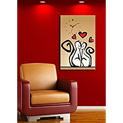 Animals Canvas Real Running Clock, Feel the Love with These Cats - Wooden Thick Frame Painting, Ready to Hang, Size (21 x 28) - Wall Art Hanging for Living Room, Bedroom, Dorm, Children's Room