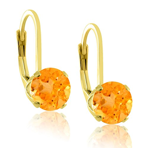 14K Gold Plated Sterling Silver 6mm Brilliant Round Simulated Golden Citrine Lever (Brilliant Cut Citrine Earrings)