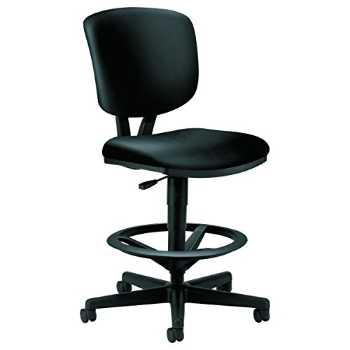 HON H5705.SB11.T Volt Task Stool - Leather Office Stool for Standing Desk, Black (H5705) - High Back Drafting Stools