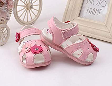 Toddler New Flowers Girls Sandals Lighted Soft-Soled Princess Baby Shoes