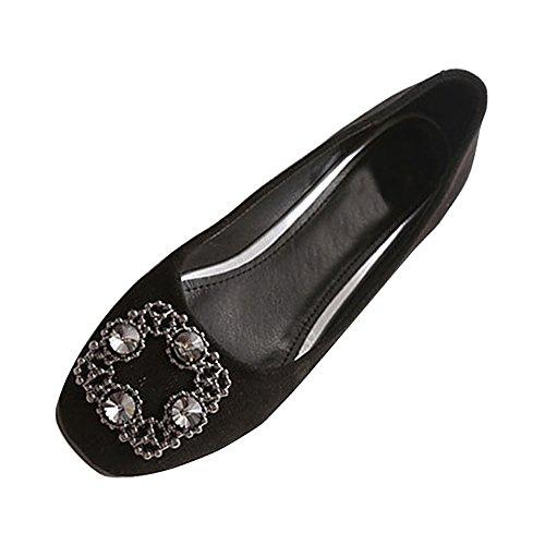 Plates Carré Marche Chaussures Ochenta Ballerines Femme Noir Tête w7pTx0qw