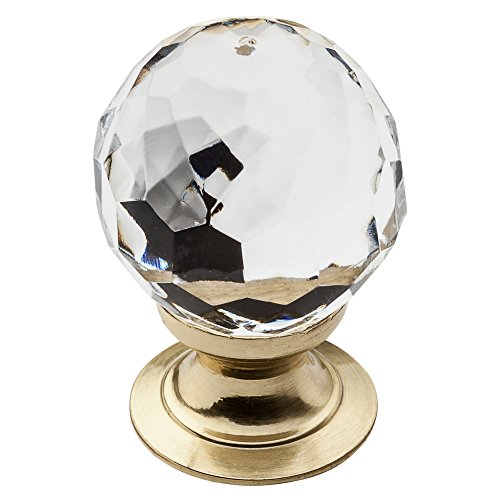 Baldwin Estate 4318.030 Swarovski Crystal Round Cabinet Knob in Polished Brass, 1.19