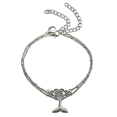 Bracelet de cheville pour femme Fleur queue de sir/ène Accessoire pour cha/îne de cheville