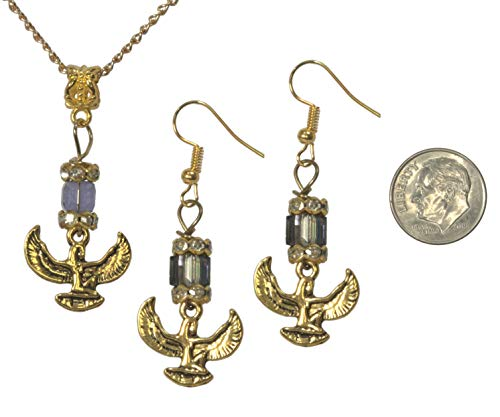 (Set, Egyptian Isis Antique Gold Colored Charm with Tanzanite Austrian Crystal Dangle Earrings + Pendant +FREE CHAIN+FREE GIFT BAG)