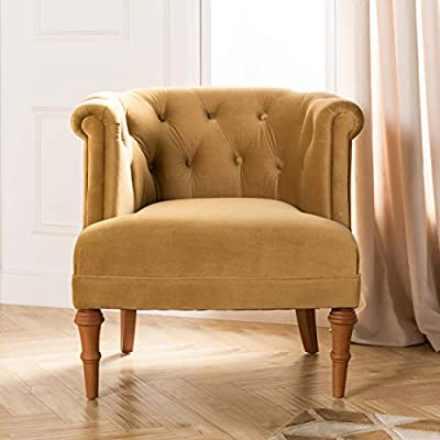 """Jennifer Taylor Katherine Tufted Accent Chair, Large, Gold - Ideal size: this accent chair has ideal Dimension of Overall dimensions 22""""L x 24"""" W x 35.5"""" H, Seat dimensions 16.5"""" D x 18""""W x 18"""" H, Leg 2"""" D x 2"""" W x 14"""" H. Weight capacity 300lbs Durable Construction: the Katherine collection Tufted chair is made of solid wood, 100% polyester and foam in gold Finish, requires assembly Contemporary design: this contemporary style accent chair is accented with a nail head trim along the edges of the Back Rest - living-room-furniture, living-room, accent-chairs - 414gGhWucRL. SS400  -"""