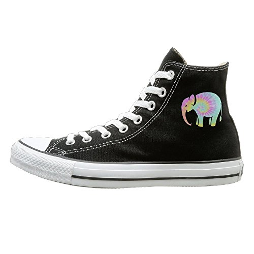 Kzsc55 Tie Dye Style Elephant High-tops Canvas Shoes For Unisex 40