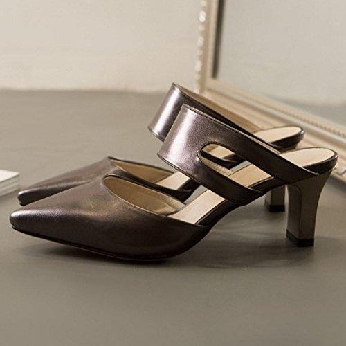 Cordones Mulas Metallic Sin Mujer Heels Mode Zanpa Black Sandalias AXwUCqnx