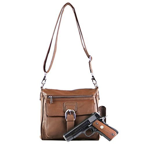 Concealed Carry Purse - Organizer Crossbody Gun Bag by Roma Leathers (Brown) (Cross Flap Body Large)