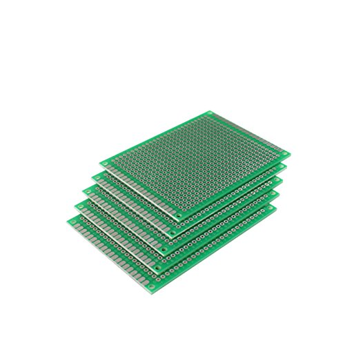 (HOODDEAL 5 pcs 6x8cm Double-side Prototype PCB Universal Printed Circuit Board)