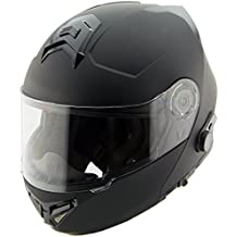 Hawk H7005 Solid Matte Black Modular Motorcycle Helmet with Blinc Bluetooth - X-Large