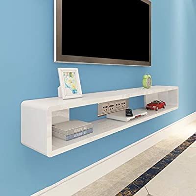 ZPWSNH Repisa en la Pared Gabinete para TV TV Estante TV Fondo decoración en la Pared Set-Top Box enrutador Estante DVD Consola de TV Mueble para TV de Pared (Color : White,