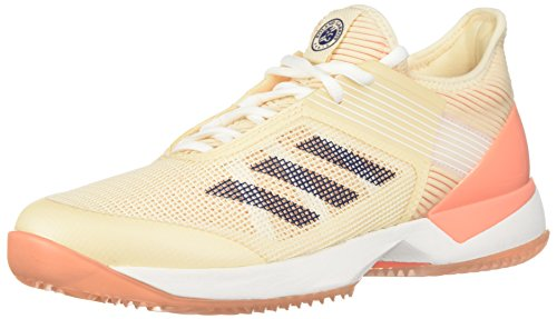 adidas Originals Women's Adizero Ubersonic 3 w Clay Tennis Shoe, Ecru Tint/Noble Indigo/Chalk Coral, 8 M US
