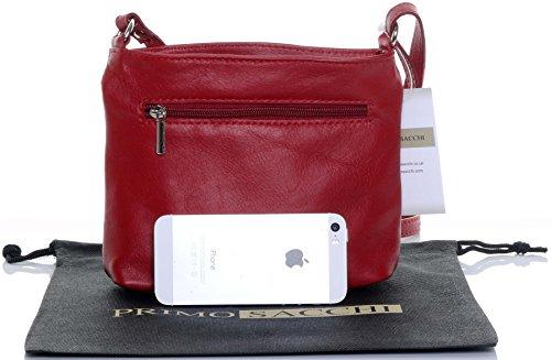 Bag Made Small Leather Primo Cross Body Strap Italian Shoulder Hand Soft Red Sacchi Adjustable Handbag tHqYXYw7