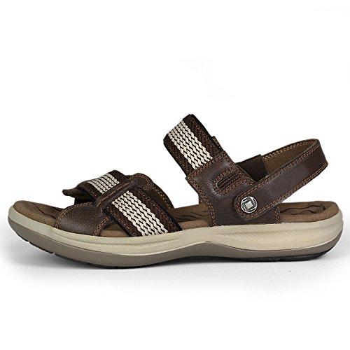 Hombres Aire Ocasionales Brown Zapatos Punta Verano Para Hgdr Al Cuero Sandalias Libre Playa De Abierta Deportivos Zapatillas RxSpXz