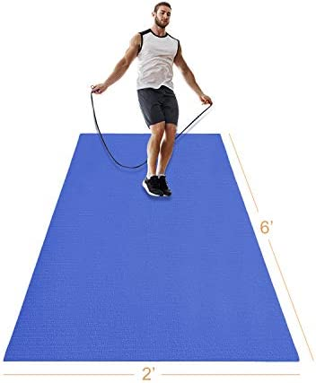 LERYG Yoga Mat Large Fitness Exercise Mat Durable, Non-Slip, Workout Mats for Home Gym Flooring Plyo, Jump, Cardio, MMA Mats Use with or Without Shoes