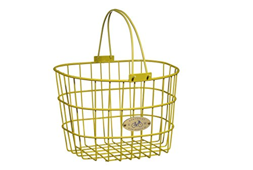 Nantucket Bicycle Basket Co. Surfside Adult Wire D-Shape Basket, Yellow (Yellow Bike With Basket)