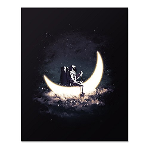 Crescent Moon and Astronaut Art Print Outer Space Rowing Boat Lunar Galaxy Celestial Stars Poster Home Decor 8 x 10 inches -