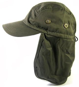 f02a4dc91311c Ear Flap Baseball Cap Style Sun Protection Hats Fashion - Olive Green   Amazon.co.uk  Sports   Outdoors
