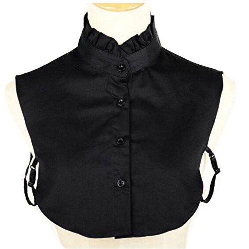 Joyci Simple Ruffles Fake Collar Detachable Dickey Collar Clothes Accessory (Black)