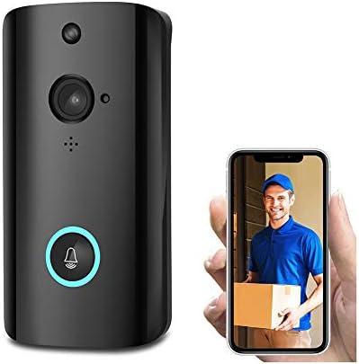 スマートビデオドアホンワイヤレスチャイム 720HDリアルタイムビデオ会話機能 ナイトビジョン PIR動き検出 Wi-Fi対応 携帯コントロール166度広角