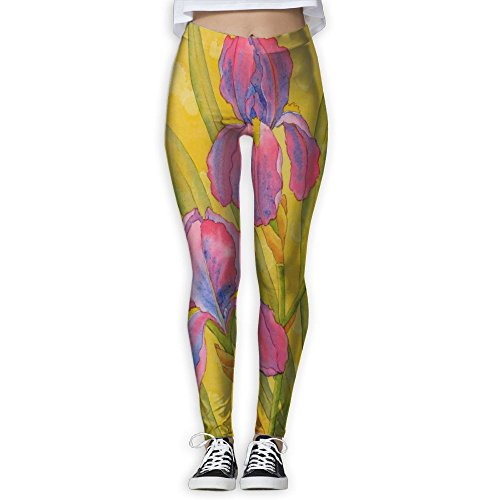 Watercolor Daffodils Womens Exercise High Waisted Yoga Leggings Workout (Watercolor Daffodil)