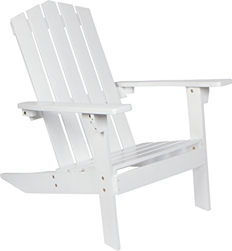 28.5'' Acacia Wood Adirondack Chair by Trademark Innovations (White) by Trademark Innovations