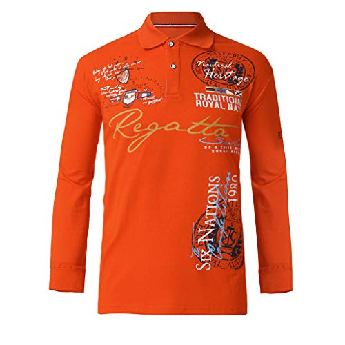 OrchidAmor Fashion Mens Letter Button Personality Shirt Long Sleeve T-Shirt Blouse Tops 2019 Summer New Tops Orange