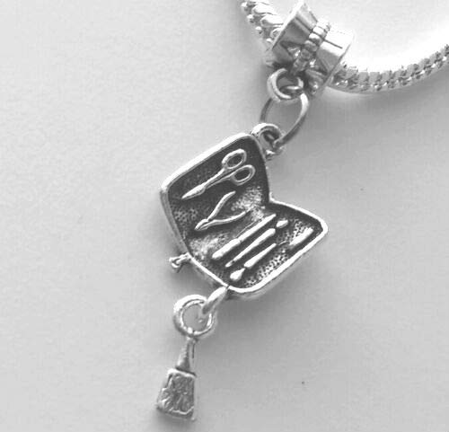 Manicure Pedicure Nail Polish European Dangle Bead Charm for Bracelet or Pendant]()