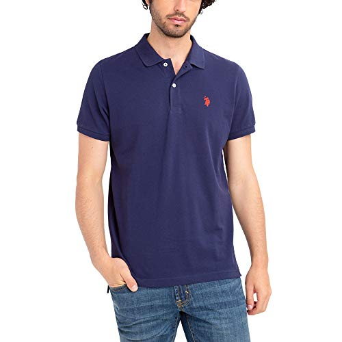 U.S. Polo Assn. Mens Classic Small Pony Solid Pique Polo Shirt - Classic Navy, Extra Large