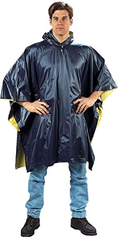 Navy Blue & Yellow Reversible Pvc Outdoor Rain Poncho