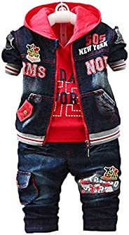 YAO Spring Autumn Baby Boys 3pcs Clothing Set Cotton Shirt Jeans Denim Vest