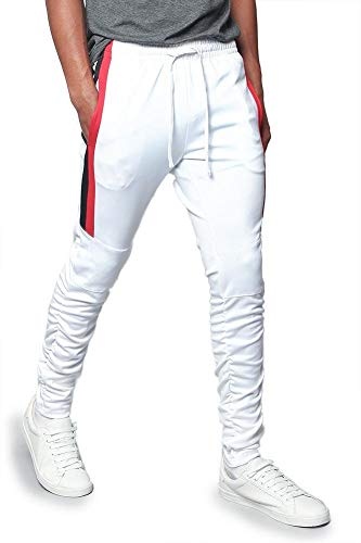 Men's Scrunched Bungee Calf Sectional Outer Side Stripe Tonal Drawstring Premium Track Pants TR546 - White - X-Large - ()
