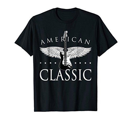 - American Classic Guitar T-shirt USA Patriotic Love Music Tee