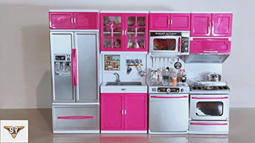 SY Doll Playsets My Modern Kitchen Full Deluxe Kit with Lights and Sounds(4 SET) (Playset Deluxe Kitchen)