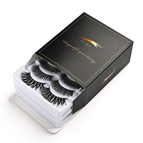ELDA 15 Pairs 3D Faux Mink lashes Handmade False Eyelashes Natural Fluffy Fake Eyelashes Dramatic Long Eyelashes Soft Reusable Lashes Pack for Makeup Eyelashes Extension