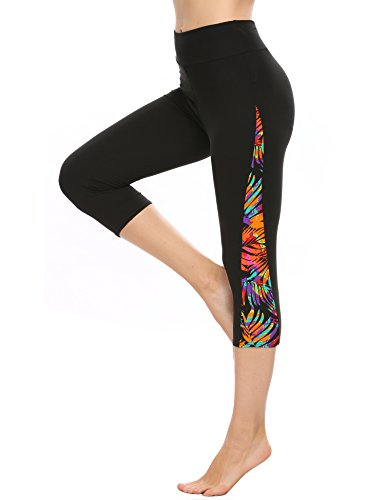Chigant Yoga Pants Active Stretch Running Leggings, 3/4 Length-pat15, Large