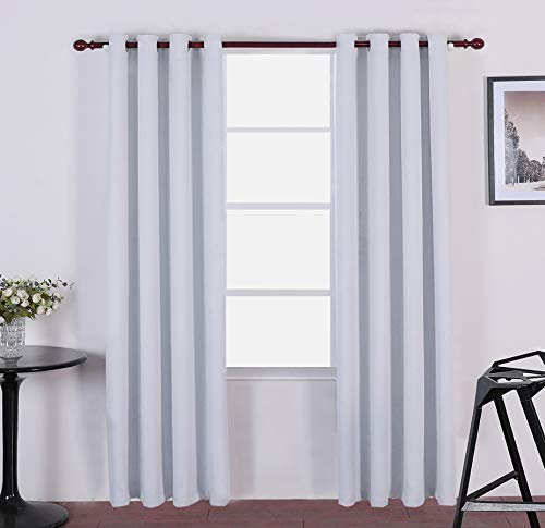 - Moss Room Darkening Blackout Curtains Thermal Insulated Draperies with Grommet Top for Living Room,Greyish White, 52 x 84 inch, 2 Panels
