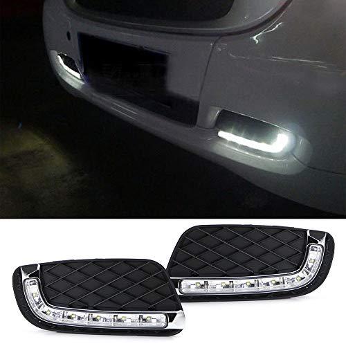 iJDMTOY Xenon White LED Daytime Running Light Kit For 2008-2012 W451 Smart Fortwo, Lower Bumper Grille Insert DRL Bezel Assy