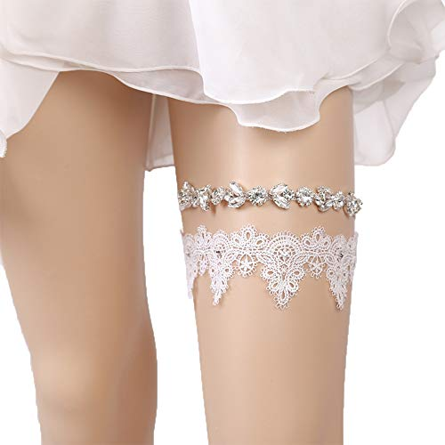 Wedding Garter Rhinestone Garter Belt 2 Pieces Lace Garters for Bride or Bridemaid Keepsake ()