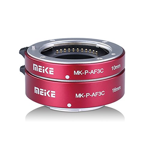 MEIKE MK-P-AF3C Red All Metal Auto Focus 10MM 16MM Macro Extension Tube For Olympus Panasonic Micro Four Thirds M4/3 System Camera Lenses by Meike