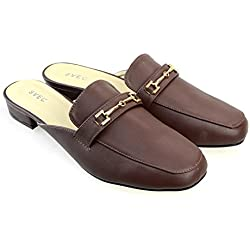 SVEC Unisex Slip On Mules Backless Loafers Leather Slippers Casual Shoes Brown 44 EU (US Unisex 10.5 M)