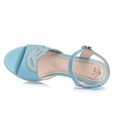 2 Pulg Cuero EU35 De Confort Sandalias Informal Azul Mujeres Beige UK3 Verano 3 De 2A CN34 Las US5 De Negro Confort RTRY 4 AUZqZ